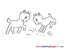 Goatlings playing printable Coloring Sheets download