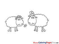 Lambs free Colouring Page download