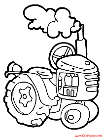 Tractor colouring page for free