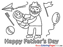 Baby free Colouring Page Father's Day