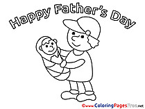 Boy Father's Day Colouring Sheet free