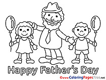 Children Father's Day Coloring Pages free