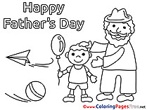 Family Children Father's Day Colouring Page