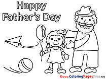Family Father's Day Colouring Sheet free