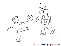 Football for Kids Father's Day Colouring Page
