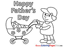 Pram Children Father's Day Colouring Page