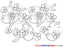Colouring Page printable Flowers free