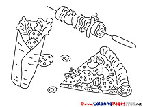 Fastfood Colouring Page printable free