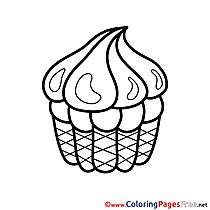 Printable Coloring Pages Cake Happy Birthday