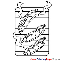 Sausage for Kids printable Colouring Page