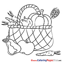 Basket with Fruits Kids download Coloring Pages