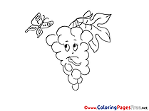 Grapes Children download Colouring Page