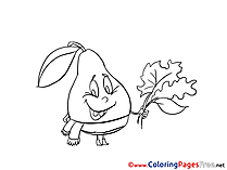 Leaf Pear for Kids printable Colouring Page