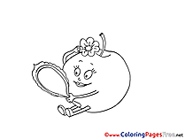 Mirror Apple Children Coloring Pages free