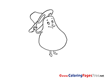 Pear Kids Free Coloring Page