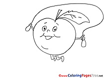 Skipping Rope Apple for Kids printable Colouring Page