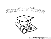 Academic Cap Colouring Page Graduation free