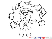 Bear Exercise Books Kids Graduation Coloring Page