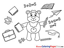 Bear Graduation School Coloring Pages download