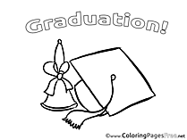 Bell Graduation Colouring Sheet Cap free