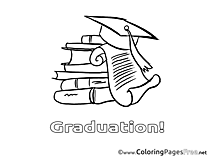 Books School Kids Graduation Coloring Page