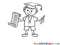 Children Student Graduation Colouring Page