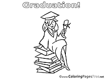 Girl Children Graduation Colouring Page