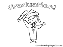 Graduation Coloring Page Kids