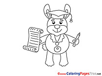 Hare in School download Graduation Coloring Pages