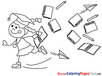 Little Girl Coloring Sheets Graduation free