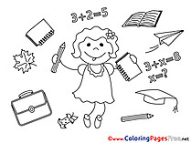 Little Girl Supplies Graduation free Coloring Pages