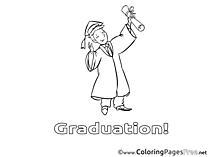 Man with Diploma free Colouring Page Graduation