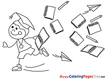 Notebooks free Colouring Page School Graduation