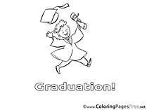 Student for Kids Graduation Colouring Page