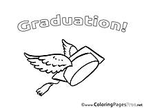 Wings on Cap Colouring Page Graduation free