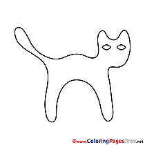 Black Cat Halloween free Coloring Pages