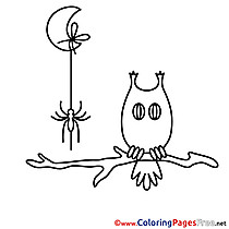 Branch Owl Kids Halloween Coloring Pages