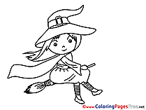 Broom Witch printable Coloring Pages Halloween