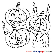 Candles with Pumpkins printable Halloween Coloring Sheets