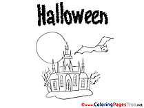 Castle Halloween free Coloring Pages