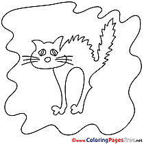 Cat Halloween free Coloring Pages