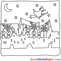 City Colouring Sheet Night download Halloween
