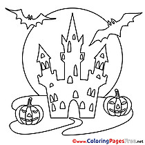 Colouring Page Castle Halloween free