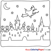 Fortress Colouring Page Night Halloween free