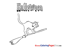 Free Cat on Broom Halloween Coloring Sheets