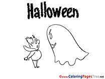 Ghost Halloween Colouring Sheet free