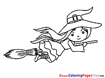 Halloween Colouring Sheet free Witch on Broom