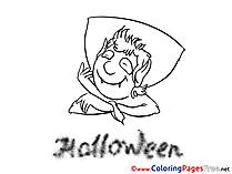Happy Vampire Kids Halloween Coloring Page