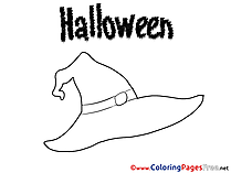 Hat Children Halloween Colouring Page