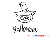 Hat Pumping Halloween Coloring Pages free